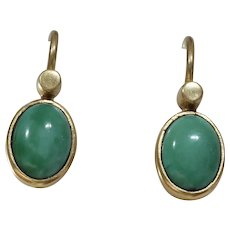 Victorian Cabochon Turquoise Earrings | 14K Yellow Gold | Antique