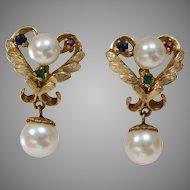 Retro Pearl Drop Earrings | 14K Yellow Gold | Sapphire Ruby Emerald
