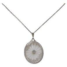 Art Deco Rock Crystal Pendant | 14K Gold Diamond Necklace | Camphor Glass