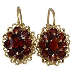 Retro Garnet Drop Earrings | 14K Yellow Gold | Dangle Lever Back Italy