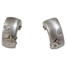 Cubic Zirconia Hoop Earrings | 14K White Gold | French Back Vintage