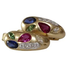 Vintage C Shaped Hoop Earrings | 14K Bicolor Gold | Sapphire Ruby