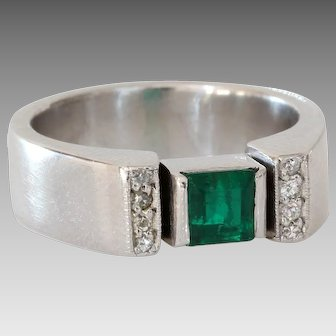 Emerald Diamond Engagement Ring | 18K White Gold | Vintage Square Cut