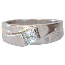 Aquamarine White Gold Ring | 14K Square Cut | Vintage Engagement Blue
