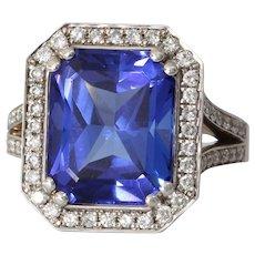 Tanzanite Diamond Engagement Ring | 18K White Gold | Vintage Cocktail