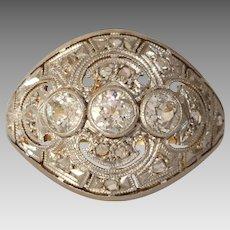 Edwardian Diamond Engagement Ring   18K Gold Platinum   Antique Cocktail