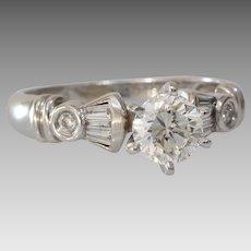 Vintage Diamond Engagement Ring   18K White Gold   Round Brilliant Cut