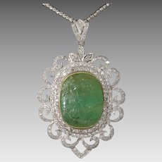 Carved Emerald Pendant Necklace   18K Gold Diamond   Vintage Bicolor