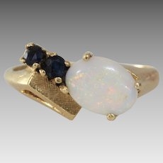 Retro Opal Sapphire Ring   14K Yellow Gold   Vintage Cocktail Israel