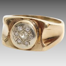 Mens Retro Diamond Ring   14K Yellow Gold   Vintage Gents Brilliant Cut