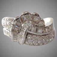 Art Deco Diamond Ring   18K White Gold   Vintage Cocktail Brilliant
