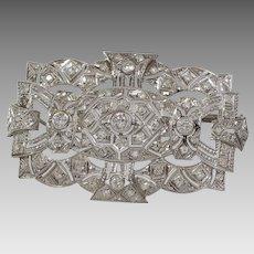 Edwardian Platinum Brooch Pendant   Diamond Antique Pin   Open Work