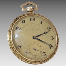 Tissot Gold Pocket Watch   14K Yellow Gold   Swiss Victorian Antique