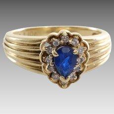 Sapphire Diamond Halo Ring   10K Yellow Gold   Vintage Engagement