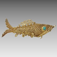 Chinese Export Fish Pendant Charm   Vermeil Sterling Silver   Vintage
