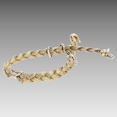 Gold Braided Bracelet   14K Yellow White   Vintage Italy Bicolor X
