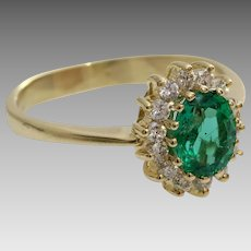 Emerald Diamond Halo Ring   14K Yellow Gold   Vintage Engagement Oval