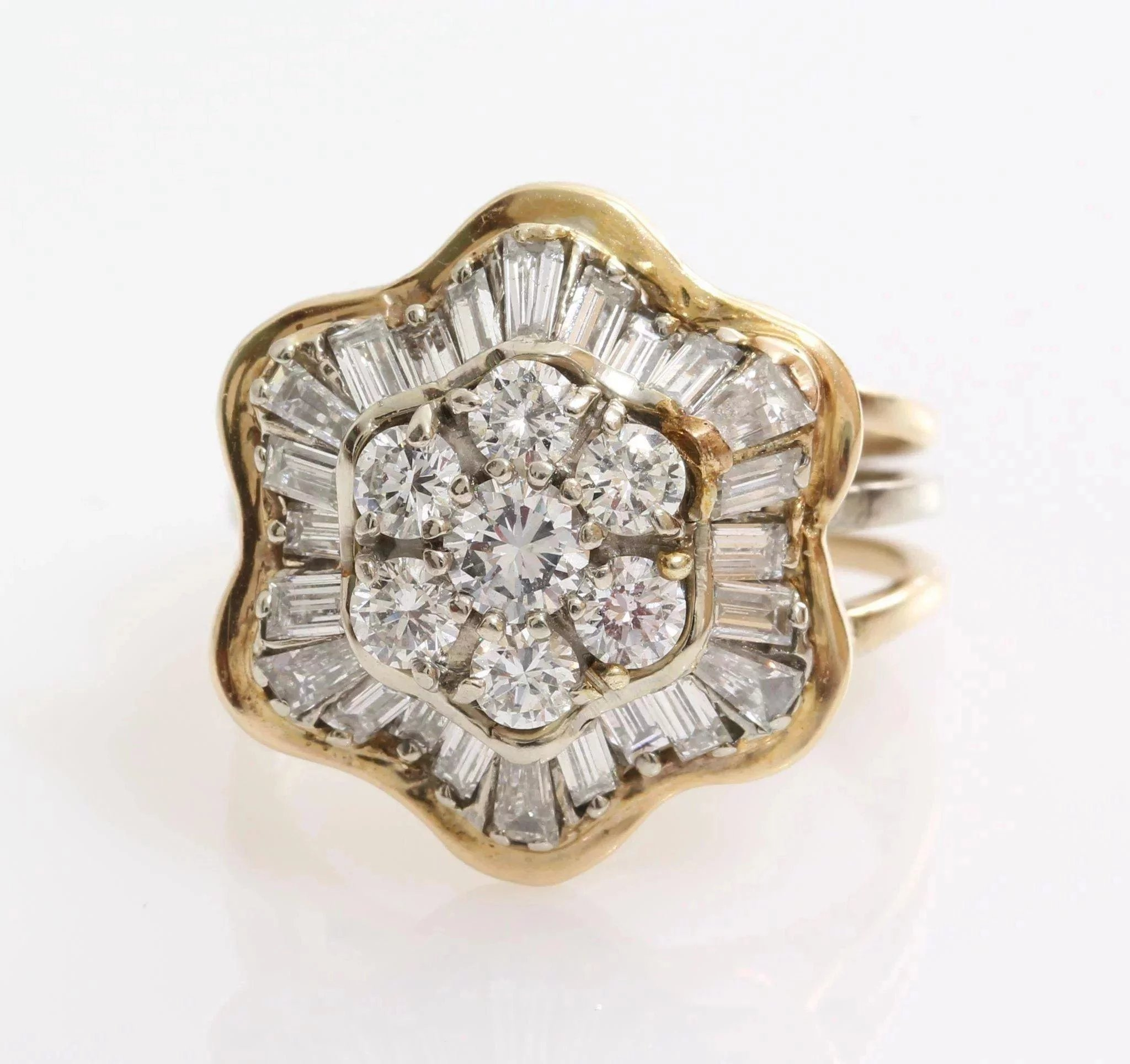 0844f321c665f Diamond Cocktail Ring | 18K Yellow Gold | Vintage Cluster Brilliant Cut