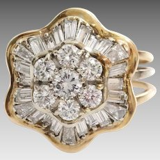 Diamond Cocktail Ring   18K Yellow Gold   Vintage Cluster Brilliant Cut