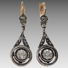 Russian Diamond Drop Earrings   14K Gold Silver   Antique Dangle Lever