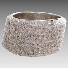 Diamond Cocktail Ring   14K White Gold   Vintage Brilliant Cut Cluster