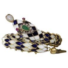 Retro Enamel Snake Bracelet | 14K Yellow Gold | Emerald Ruby Diamond Opal