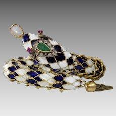 Retro Enamel Snake Bracelet   14K Yellow Gold   Emerald Ruby Diamond Opal