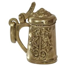 Beer Stein Charm Pendant | 8K Yellow Gold | Vintage Mug Germany