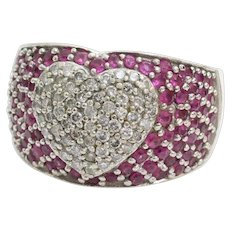 Diamond Ruby Heart Ring | 14K White Gold | Vintage Cocktail Cluster