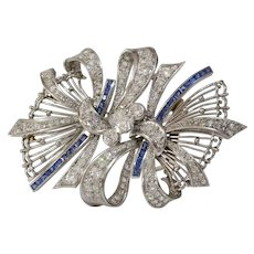 Art Deco Brooch Pendant | Diamond Sapphire Platinum | Vintage 18K Pin