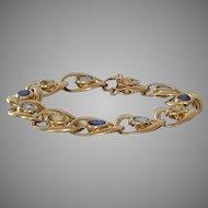 Multi Gem Gold Bracelet | 14K Sapphire Aquamarine | Blue Yellow