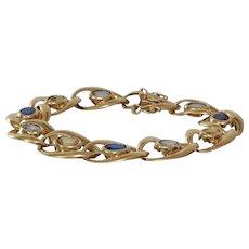 Multi Gem Gold Bracelet   14K Sapphire Aquamarine   Blue Yellow
