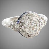 Art Deco Diamond Engagement Ring   Platinum Sapphire   Vintage Cocktail