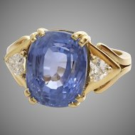 Sapphire Diamond Engagement Ring | 18K Yellow Gold | Vintage Blue Oval