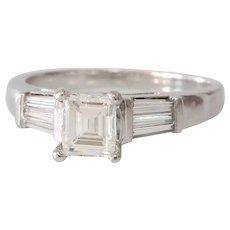 Art Deco Diamond Engagement Ring | 14K White Gold | Emerald Cut