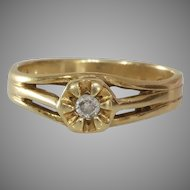Art Deco Diamond Ring   14K Yellow Gold   Vintage Engagement Solitaire