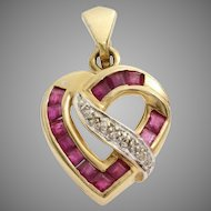 Diamond Ruby Heart Pendant | 14K Yellow White Gold | Vintage Bicolor