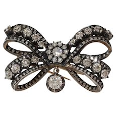 Victorian Russian Diamond Bow Brooch | 14K Gold Silver | Antique Pin