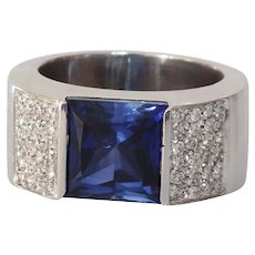 Sapphire Diamond Mens Ring   18K White Gold   Vintage Blue Gents