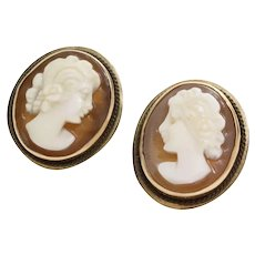 Cameo Stud Earrings   14K Yellow Gold Shell   Vintage Carved Oval