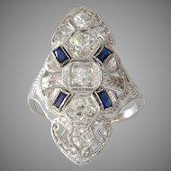 Art Deco Diamond Engagement Ring   18K White Gold   Sapphire Cocktail