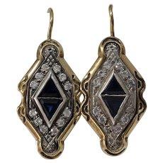 Vintage Amethyst Drop Earrings | 14K Bicolor Gold | Cubic Zirconia