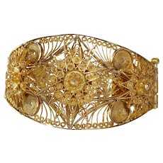 Gold Filigree Cuff Bracelet | 21K Yellow Ottoman | Vintage Turkey Star