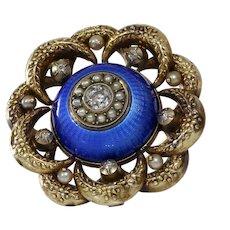 Victorian Diamond Pendant Brooch | 14K Gold Enamel | Silver Seed Pearl