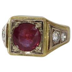 Ruby Diamond Mens Ring | 18K Bicolor Gold | Vintage Gents Israel Red