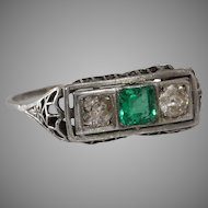 Emerald Diamond Ring | Platinum Art Deco | Vintage Three Stone Filigree