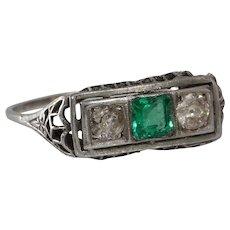 Emerald Diamond Ring | Platinum Art Deco | Vintage Three Stone Filigree