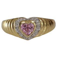 Pink Sapphire Heart Engagement Ring   14K Gold Diamond   Vintage Bicolor