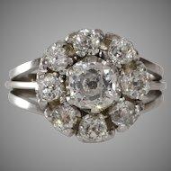 Art Deco Diamond Cluster Ring    18KT White Gold   Vintage Cocktail