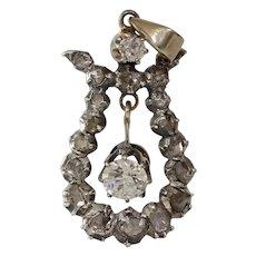 Victorian Diamond Pendant | 14K Gold Silver | Antique Georgian Drop